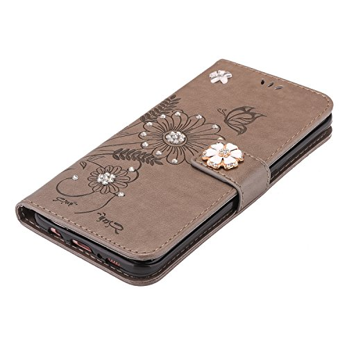Custodia iPhone 6 Plus, iPhone 6S Plus Cover Wallet, SainCat Custodia in Pelle Flip Cover per iPhone 6/6S Plus, Bling Glitter Strass Diamante Ultra Sottile Anti-Scratch Book Style Custodia Morbida Cov Grigio