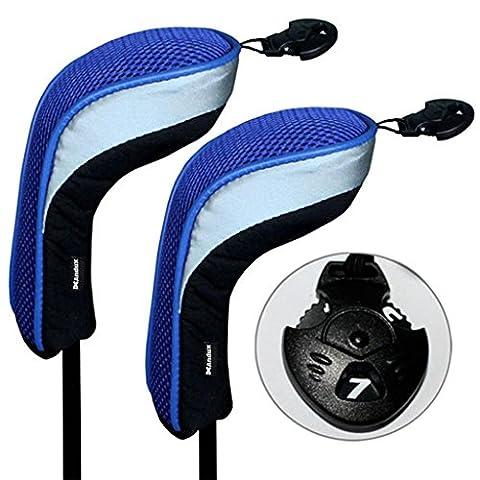 2pcs Andux couvre de tête du club de golf hybride noir et bleu interchangeables NO.. tag MT/hy04