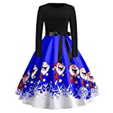 Xmiral Weihnachten Kleid Damen Elegant Vintage Xmas Print Langarm Abend Party Kostüm (XXL,Blau1)