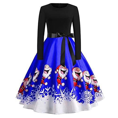 Xmiral Weihnachten Kleid Damen Elegant Vintage Xmas Print Langarm Abend Party Kostüm (L,Blau1)