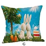 VRTUR Fundas de Almohada Happy Easter Funda de Cojín para sofá de Lino Decoración para el Hogar Patrones Multiples Estilo(45 * 45cm,Z G)