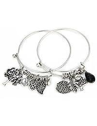 desido® italien bracelet Italian Charms Bracelet Bracelet Chaîne Charms Perles avec ressort feuilles Rêve Arbre Bracelet d'amitié Amour Amitié Infinity Effet d'or et d'argent