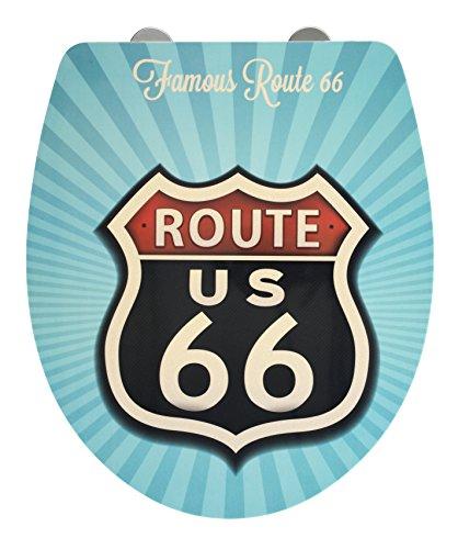 Foto de Wenko 23170100Asiento de inodoro Vintage Route 66brillante de superficie, descenso automático