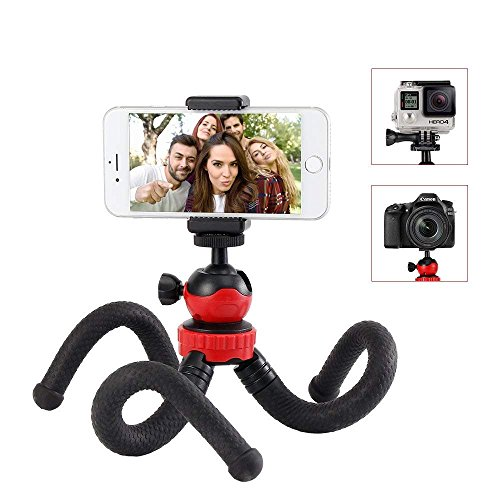 Treppiedi Cellulare Portatile Octopus Style 360 Gradi con Due Adattatore Cavalletto Per Telefono Treppiedi Fotocamera Supporto Treppiede Smartphone Flessibile per iPhone X/8/8Plus,Fotocamere,DSRL