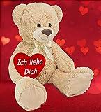 BRUBAKER XXL Teddybär 100 cm Beige mit einem Ich liebe Dich Herz - 7
