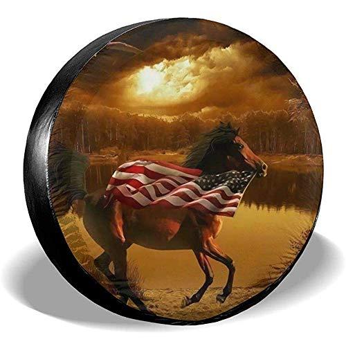Coperchio Ruota Di Scorta In Poliestere Bandiera Americana E Cavallo Impermeabile Antipolvere Coperchio Ruota Di Scorta Universale Adatto Per Jeep,Fuoristrada E Molti Veicoli(14-17 Pollici)