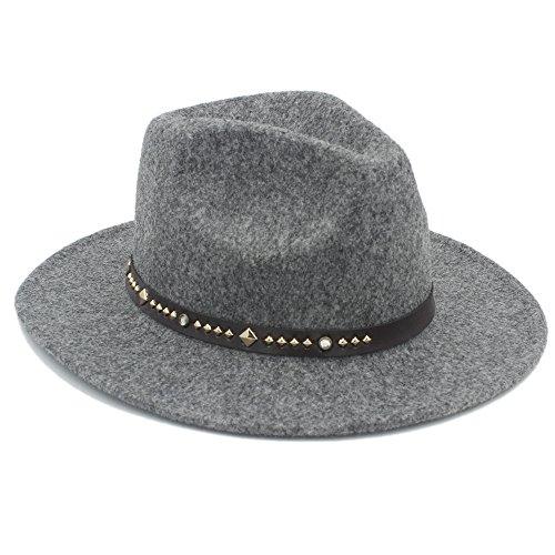 YQXR Moda Sombreros Sombrero de Fedora de otoño invierno de las mujeres de los hombres con bricolaje gorra de banda de cintura superior Sombrero para el sol Sombreros Jazz Cap