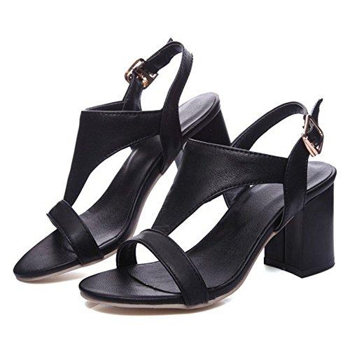 COOLCEPT Femme Mode Sangle T lacets sandales Talon Bloc Slingback Bout Ouvert Chaussures taille Noir