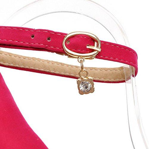 AllhqFashion Femme Couleur Unie Suédé Stylet Pointu Boucle Chaussures Légeres Rouge