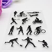 JMcall® Alphabet Transparent Silicone Clear Rubber Stamp Sheet Cling Scrapbooking DIY N(Black)