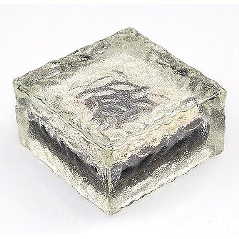 ZQQ la energía solar conducido suelo de cristal de vidrio de hielo de la forma de ladrillo al aire libre jardín patio de luz camino carretera , warm white