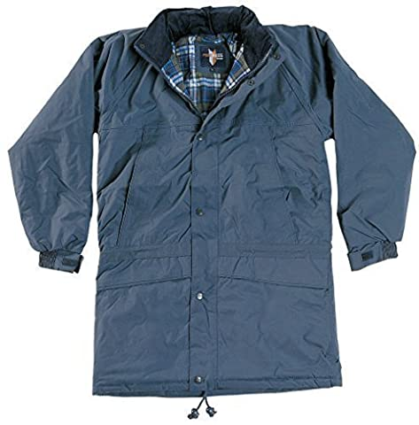 Fortress Mens Waterproof Windproof Stornoway Jacket Coat Quailted Warm Brushed Cotton Check Lining Taped Seams Cord Trimmed Collar Concealed Hood In Collar 2 Chest Zipped Pockets Two Lower Handwarming Pockets Inside Pockets Weatherproof Workwear Walking Casual Fishing Jacket Navy S (36-38''
