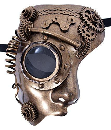 Zoelibat Steampunk Halbmaske mit Zahnrädern, Schläuchen und Fliegerbrillenauge - Gold / Bronze - Reizvolles Accessoire für Halloween, Fasching oder Mottoparty (Fliegerbrille Mit Halloween-kostüme)