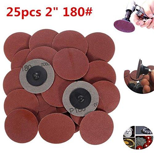 Rishil World 25pcs 2 inch 180 Grit Roll Lock Sanding Discs R-Type Abrasive Tool