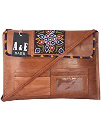 A&E Women's Cross Body Genuine Leather Office Laptop Matt Brown Embriodery Bags