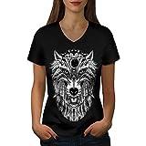 Loup Effrayant Animal Femme L T-shirt à col en V | Wellcoda