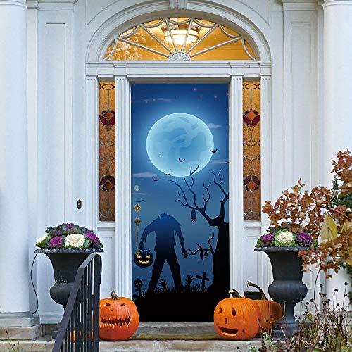 XXXCH 3D Türaufkleber Halloween 77X200CM Türtapete selbstklebend TürPoster - Fototapete Türfolie Poster Tapete Meer Aufkleber DIY Selbstklebende Wandbild PVC Wasserdichte Tapete