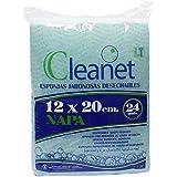 Cleanet: esponja jabonosa desechable napa 12x20 90grs. Higiene corporal con gel dermatológico pH neutro. 10 paquetes x 24 unidades (Amazon)