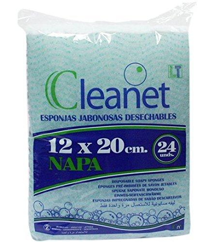 Cleanet: esponja jabonosa desechable napa 12x20 90grs