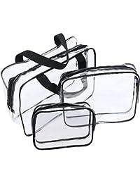 JTDEAL Bolsa Impermeable de PVC (3pcs ) Neceser Transparente, Bolsa de Cosmético Bolsa de Mano Organizador de Viaje Portátil