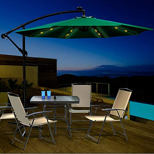 Masthome 270cm Sonnenschirm mit Kurbel und Neigefunktion und LED Licht,Perfekt Marktschirm Gartenschirm für Sonnenschutz im Balkon und Pool,Terrassenschirm Regenschutz Ampelschirm