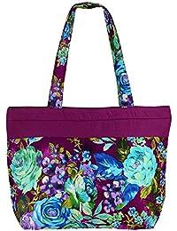 Bolsa de la compra de usos múltiples multicolor- bolsa de asas de algodón con cierre de cremallera y dos asas