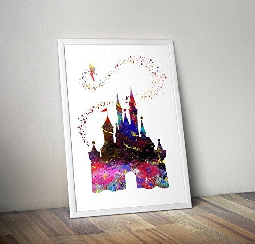 Château de Cendrillon Aquarelle Inspirée Affiche - Citation - Tirages alternatifs pour la télévision ou le cinéma en différentes tailles (Cadre non inclus)