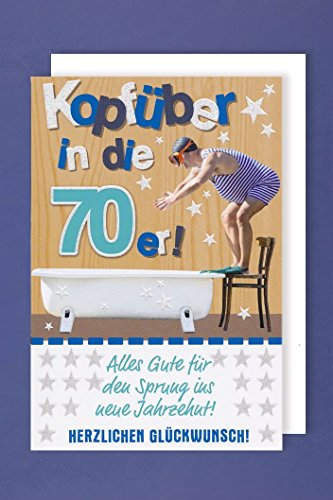 70 Geburtstag Grußkarte Applikationen AvanGlitter Badewanne Taucher 16x11cm