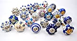 Set of 25 Blue and White Red Multi Color hand painted ceramic pumpkin knobs cabinet drawer handles pulls