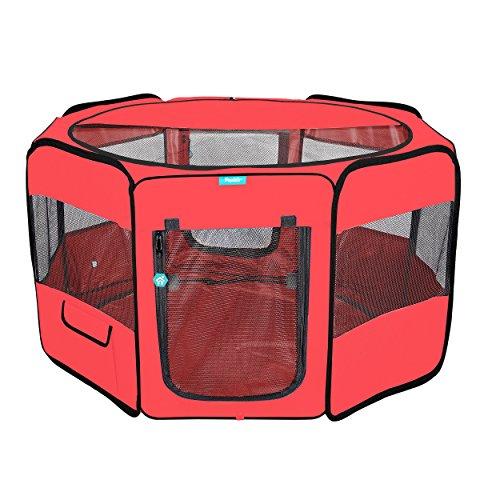Pawdle Deluxe Premium Faltbar Tragbar, Bewegung Laufstall Zwinger Katzen, Hunde, Kätzchen Reisen und Alle Pets-Tragetasche-in Bodenspieß-Abnehmbarer Shaded Bezug und Unten, Large, Rot -