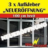 """Aufkleber Schriftzug - 3 STÜCK - """"NEUERÖFFUNG"""