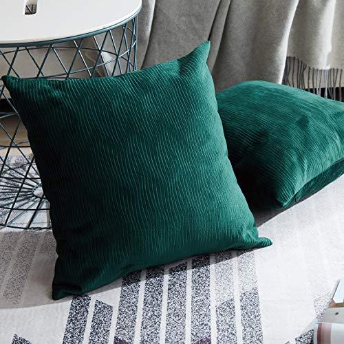Topfinel Samt Kissenbeüge mit Reißverschluss einfärbig für Autos Wohnzimmer Schlafzimmer Sofa morderne Zierkissenbezüge 45x45cm 2er Set Grün