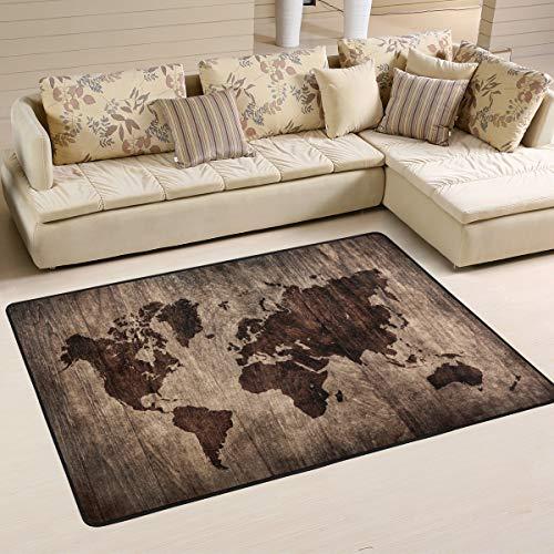 Jsteel Teppich, waschbar, weich, Vintage-Weltkarte, 90 x 60 cm, Wohnzimmer-Teppich, Multi, 180 x 120 cm
