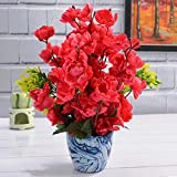 Fancy Mart Artificial Blossom Flower Plant with Marble Finish Pot (30 cm, Cherry)