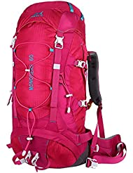 Eshow Mochilas de 60 Litros de Senderismo Nylon Mochilas de Acampada 60L Impermeable de montanismo Trekking Deportes Excursion Color Rosa