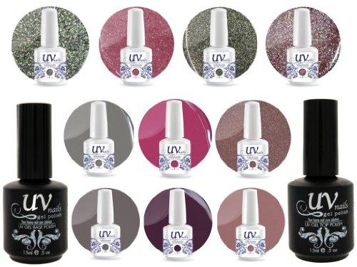 UV Nail Gel Profesionnel Collection Tea Time 4 Paillettes Vibrante+6 Gels+Base&Top+Polissoir & Lime a Ongles Aviva