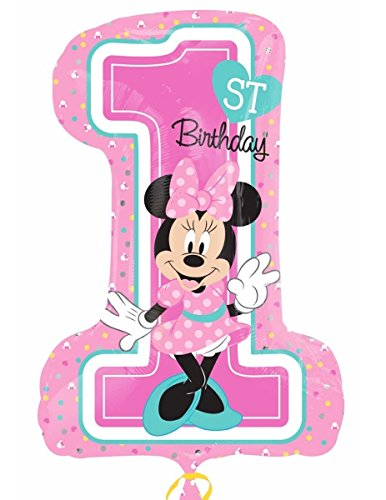 Amscan International 8.725.410,5 cm Minnie Mouse 1. Geburtstag Super Form Folienballon (Minnie Maus 1. Geburtstag Luftballons)
