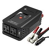 POTEK 300W Wechselrichter,12V auf 220-230V mit 4*Ersatzsicherungen, Deutsch AC Buchse und Autobatterieclips