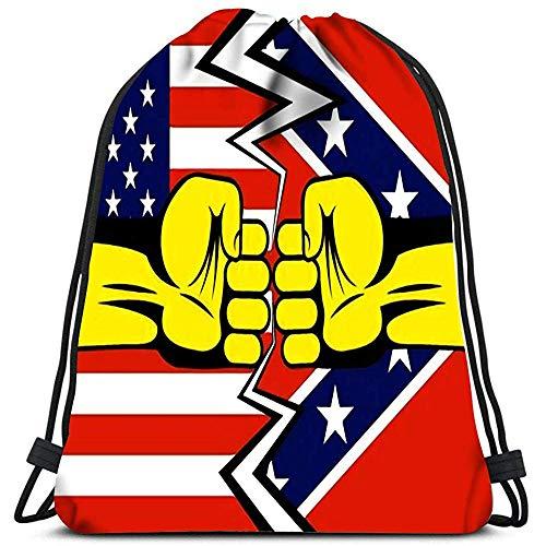 Valender Sacs à Dos avec Cordon de Serrage Deux poings américains et Drapeaux de Virginie