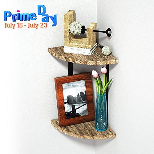 Wang scaffale scaffale angolare pensile–2ripiano scaffale in legno, montaggio a parete decorazione della parete, vintage/massivholz (montaggio con viti)