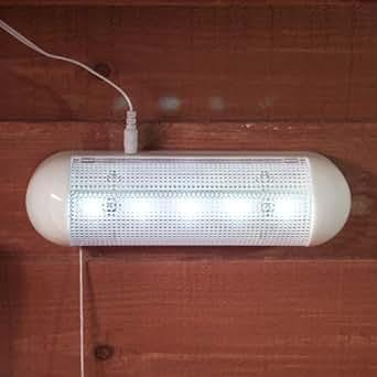 lampe solaire pour abri de jardin avec 5 led blanches de lights4fun luminaires et. Black Bedroom Furniture Sets. Home Design Ideas
