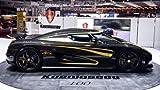 Classic und Muscle Car-Anzeigen und Auto Art Koenigsegg Agera S Hundra Auto Art Poster Kunstdruck auf 10mil Archivierung Satin Papier schwarz Seite View, Papier, Black Side View, 36