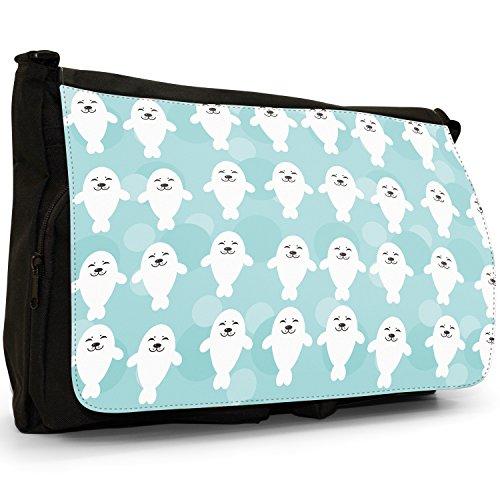 Tenero animale Unicorno Pattern–Borsa Tracolla Tela Nera Grande Scuola/Borsa Per Laptop Smiling Happy White Seals