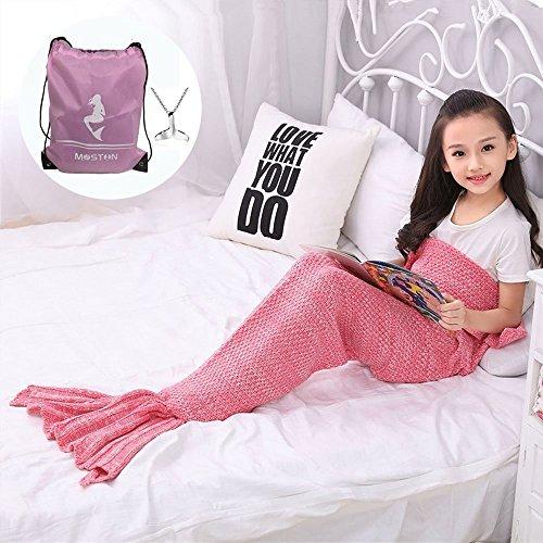 Moens Stricken Muster Meerjungfrau Schwanz Blanket, weich und warm Meerjungfrau Schwänze Schlafsack Klimaanlage Decke Schlummer Tasche Niedlich Meerjungfrau-Geschenk -