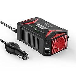 Sinus wechselrichter DC 12v auf AC 230v/BESTEK 300W stromwandler 12 auf 230/steckdose Auto Adapter/Auto wechselrichter,Inverter,inkl. Kfz Zigarettenanzünder Stecker