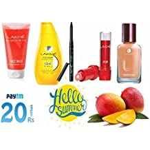 Lakme Lip Love Lip Care, 3.8G,Lakme Perfecting Liquid Foundation, Pearl, 27 Ml,Lakme Eyeconic Kajal, Deep Black, 0.35 G,Lakme Sun Expert Spf 24 Pa Fairness Uv Sunscreen Lotion, 120 Ml,Lakme Blush & Glow Strawberry Gel Face Wassh Combo Pack