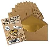50 Stück I Gold gefütterte Vintage-Umschläge Din Lang (C6/5) 114 x 229 mm Kraft-Papier Braun Recycling Nassklebung I Umwelt by Gustav NEUSER