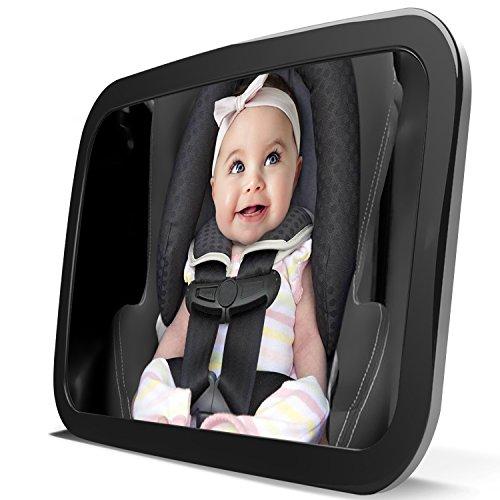 LanChuon Espejo de coche de bebé de seguridad para el asiento trasero, actualizado a gran altura y establo trasero frente a asiento de coche Bebé a la vista Shatterproof espejo con paño de limpieza, tira ajustable doble, 30 cm de largo