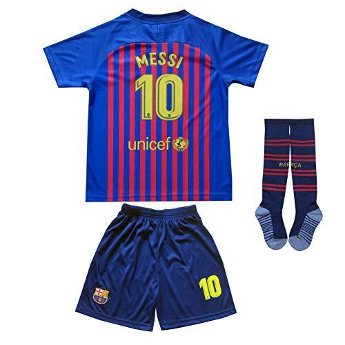 BTA APPAREL 2018/2019 Barcelona #10 Lionel Messi Heim Kinder Fußball Trikot Hose und Socken Kindergrößen (26 (8-10 Jahre))