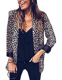 dd4de48ea841 Tomwell Blazer Damen Cardigan Elegant Langarm Leopardenmuster Slim Fit Bolero  Jacke Blazer
